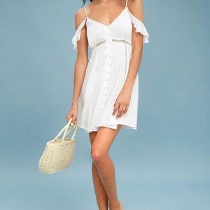 Off-the-Shoulder Button-Up Dress